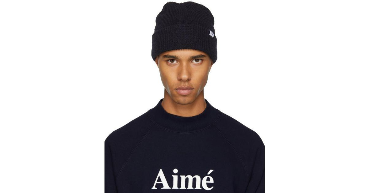 Lyst - Aimé Leon Dore Navy Waffle Stitch Beanie in Blue for Men a2ebae905095