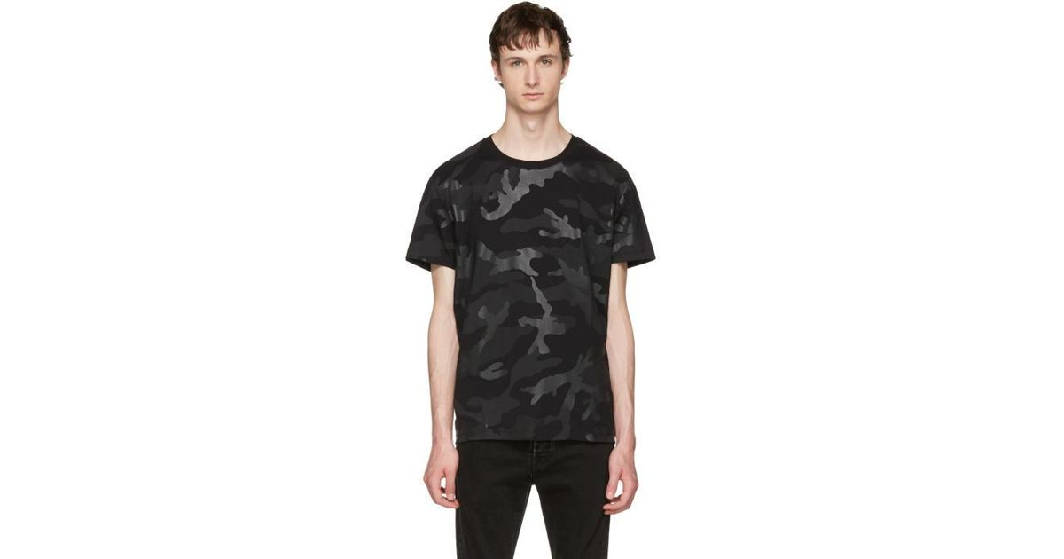 Lyst Valentino Black Camo T Shirt In Black For Men