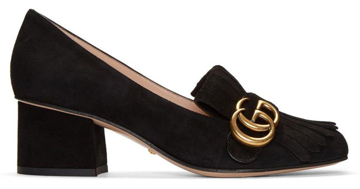 Lyst - Gucci Black Fringe Marmont Loafer Heels in Black 24c148718df1
