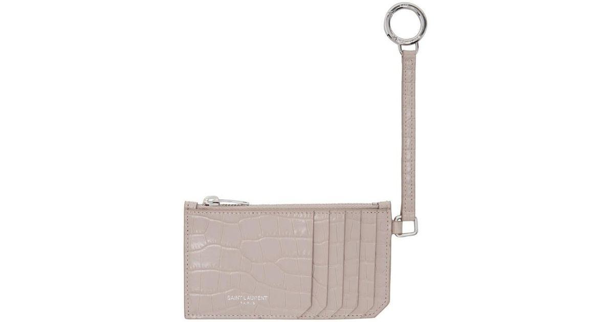 lyst saint laurent pink croc embossed 5 fragments keyring zip card holder in pink - Card Holder With Keyring