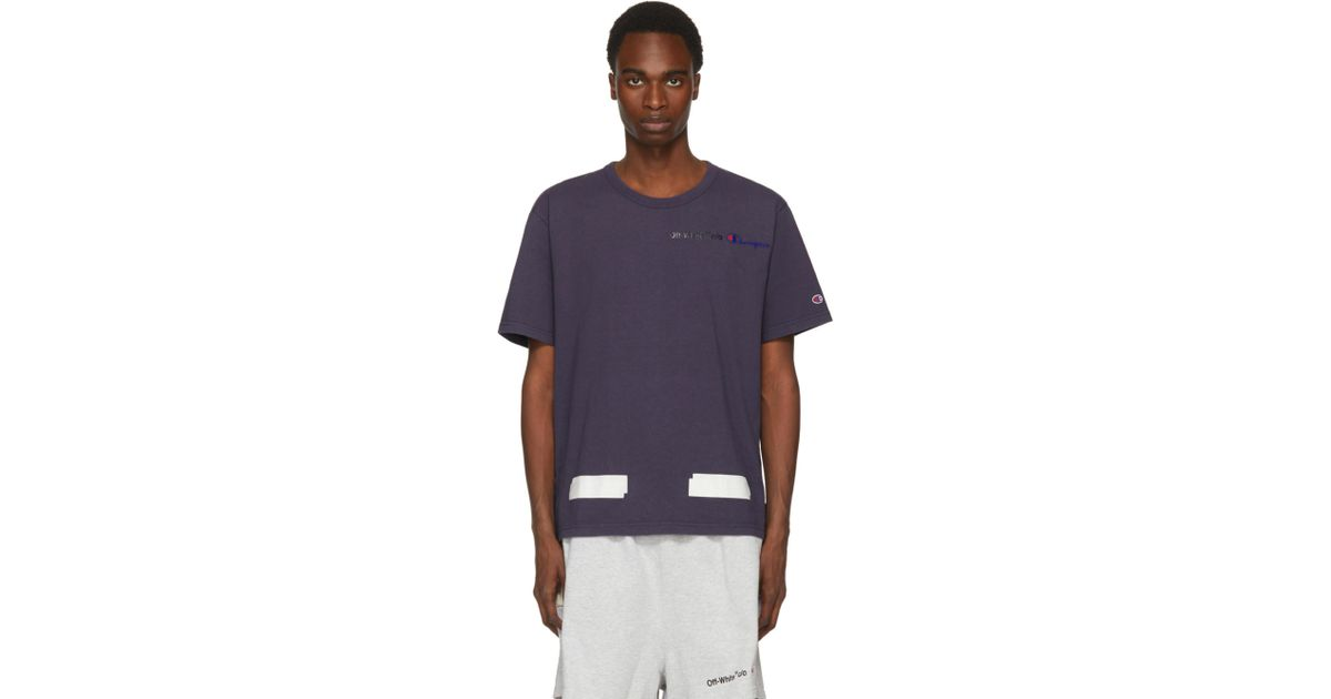 7dae0c80 Off-White c/o Virgil Abloh Navy Champion Reverse Weave Edition T-shirt in  Blue for Men - Lyst