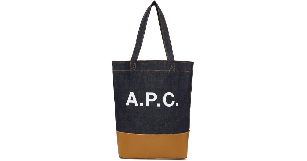 Navy and Tan Denim Axel Tote A.P.C. FZLLtRA