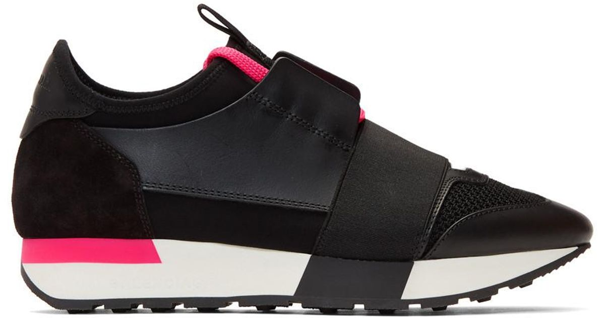 536e0a7d4eaf Balenciaga Black And Pink Race Runner Sneakers in Black - Lyst