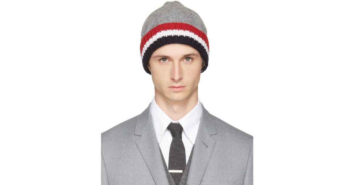 Grey Cashmere Cable Knit Four Bar Beanie Thom Browne 44ZBN4Pso