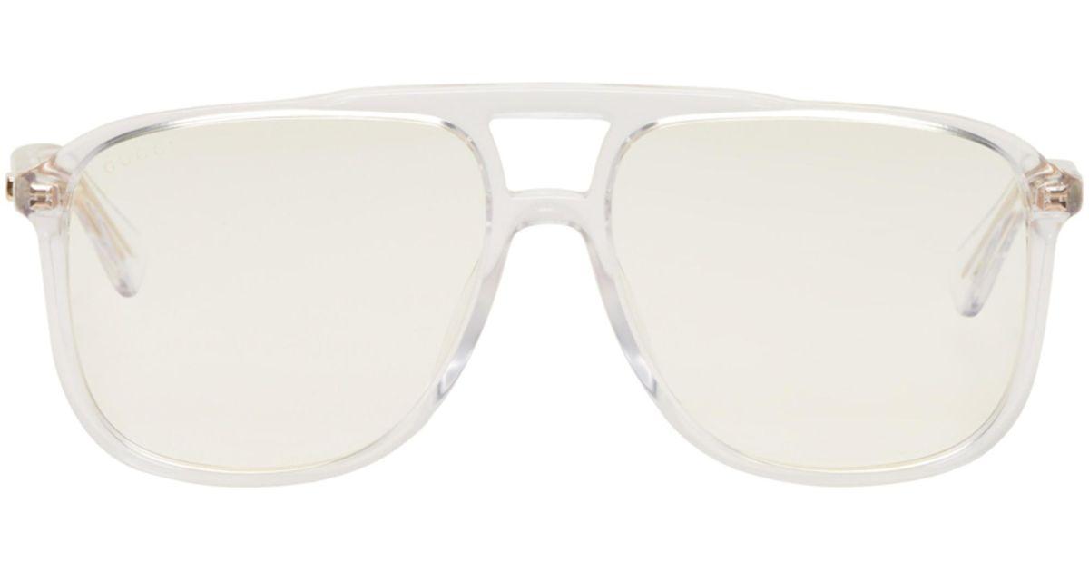 ab3e96cc40df2 Lyst - Lunettes de soleil rectangulaires transparentes 80s Gucci pour homme