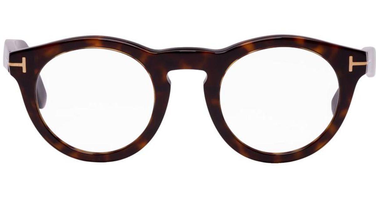 ac0fe825f4 Lunettes rondes ecailles de tortue Soft Tom Ford pour homme en coloris Noir  - Lyst