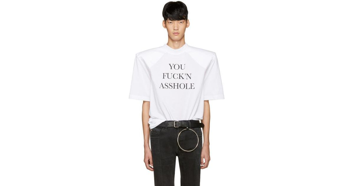 SSENSE Exclusive Black You Fuckn Asshole Football Shoulder T-Shirt VETEMENTS Free Shipping Get Authentic View Cheap Online Outlet 2018 Newest Finishline Online iWYkaDw