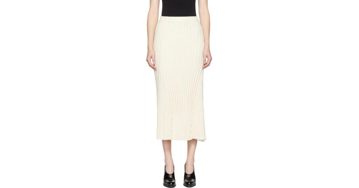 Off-White Long Ribbed Skirt Jil Sander Free Shipping Good Selling Classic For Sale Sale Shopping Online Cheap Sale Cheapest Price fzde2oT