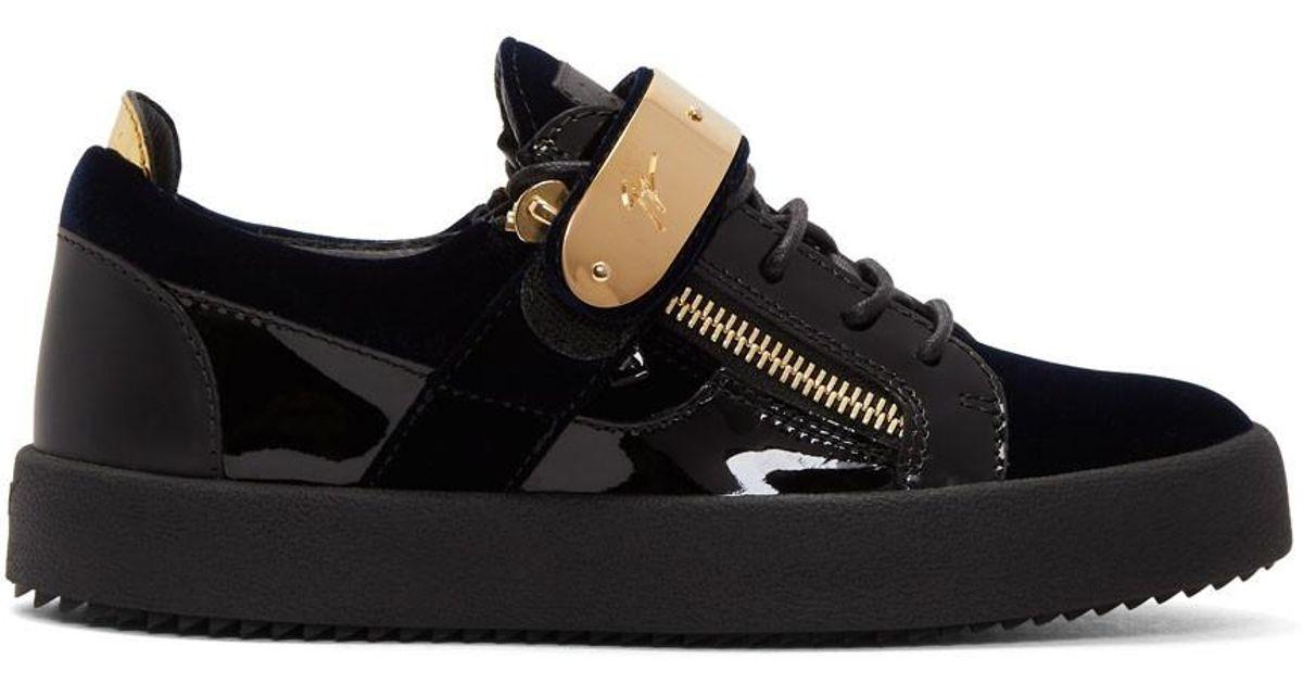 Navy and Black Velvet May London Sneakers Giuseppe Zanotti bHti9MzuwU