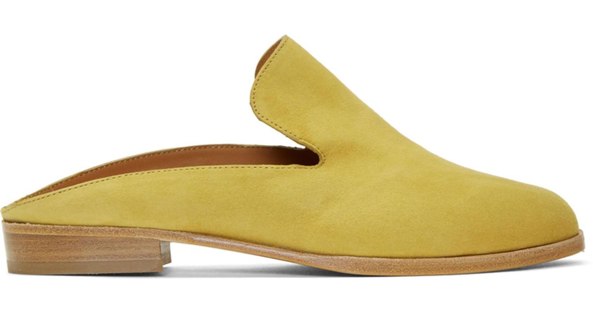 Clergerie Yellow Suede Alice Mules yQihxuXi