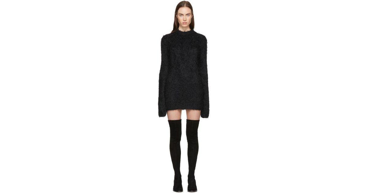 6e6343d80ed7 McQ Black Faux-fur Sweater Dress in Black - Lyst