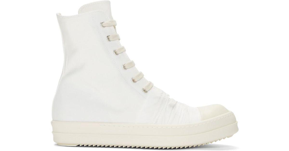 a9f96a6fab075 Lyst - Baskets montantes en toile blanche Rick Owens Drkshdw en coloris  Blanc