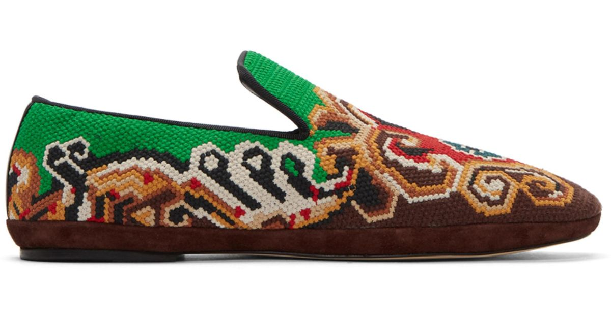 Brown and Green Embroidered Slip-On Loafers Loewe UVP59kz