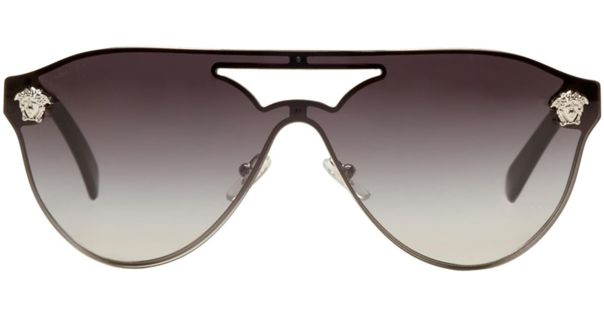 7917bd2b194 Lyst - Versace Silver And Black Medusa Visor Sunglasses in Metallic for Men