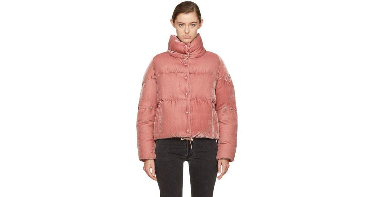 moncler pink velvet coat