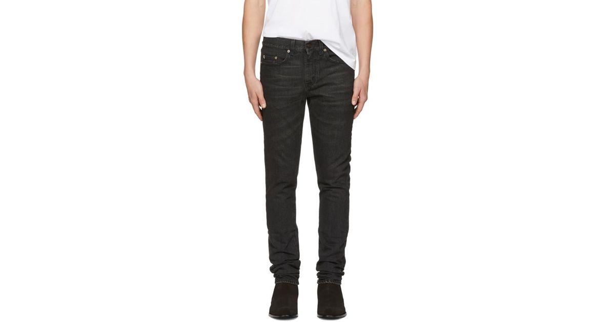2f4f1779923 Saint Laurent Black Star Low-waisted Skinny Jeans in Black for Men - Lyst
