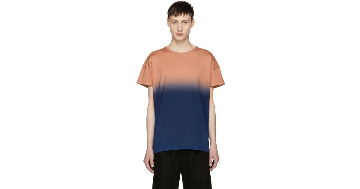 Orange and Navy Gradation T-Shirt Diet Butcher Slim Skin Authentic Cheap Price Free Shipping Visa Payment Discount Official Site Cheap Sale Wiki Sale Fashionable BfDlO