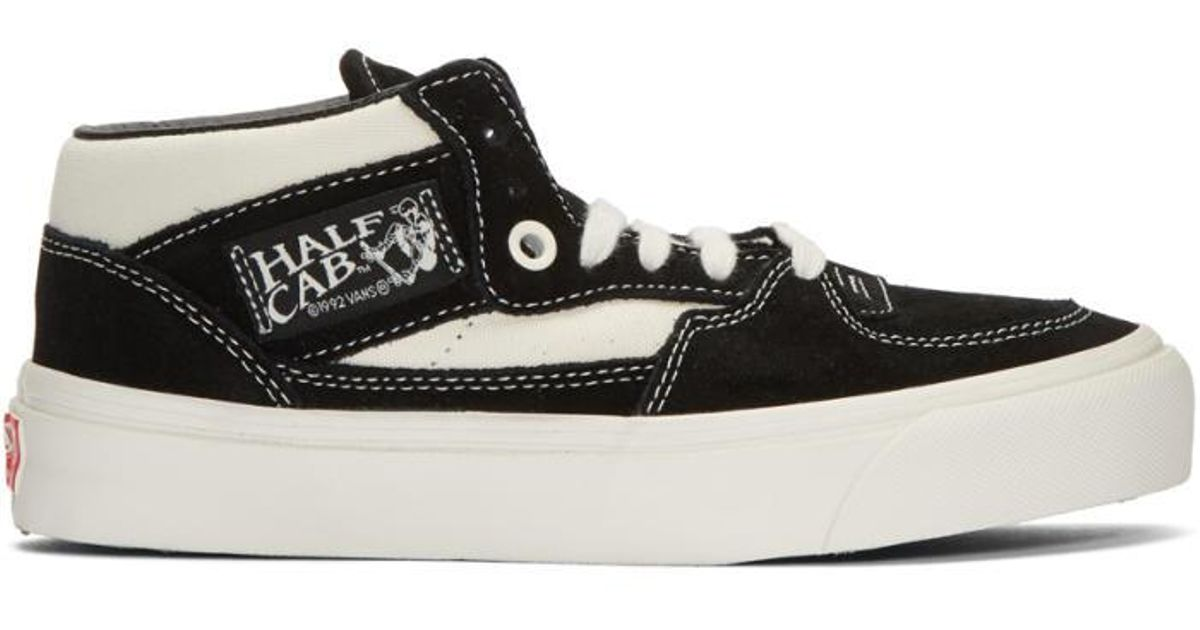 Lyst - Vans Black   Off-white Suede Og Half Cab Lx Mid-top Sneakers in Black a31e62fa9