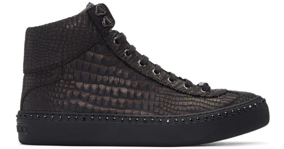 Argyle high-top stud-embellished leather trainers Jimmy Choo London Tp4VIKgi