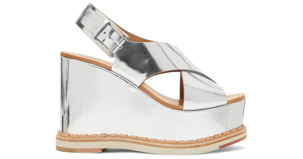 Mirror Silver Sandals Wedge Trendy Lyst Flamingos Metallic 1cJ3lFKT
