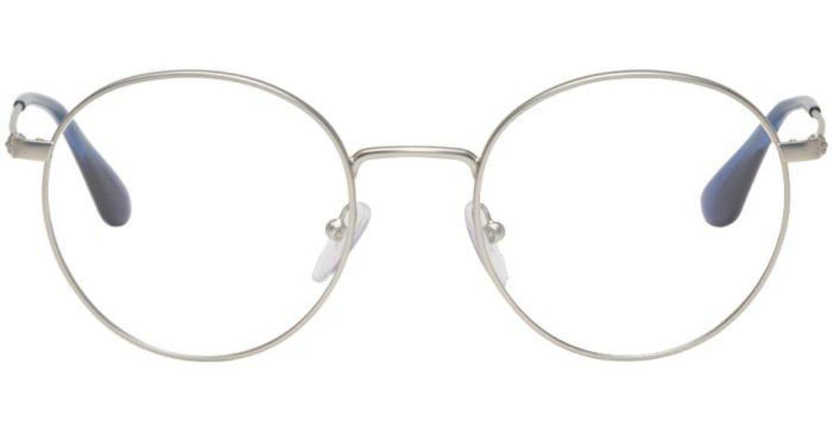 3eb9cd6776 Lyst - Prada Silver Round Glasses in Metallic for Men