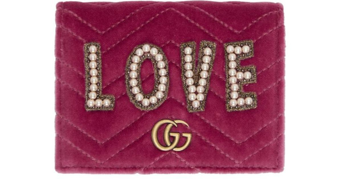 2ad6d15c0fd Gucci Pink Velvet Small Love GG Marmont Wallet - Lyst