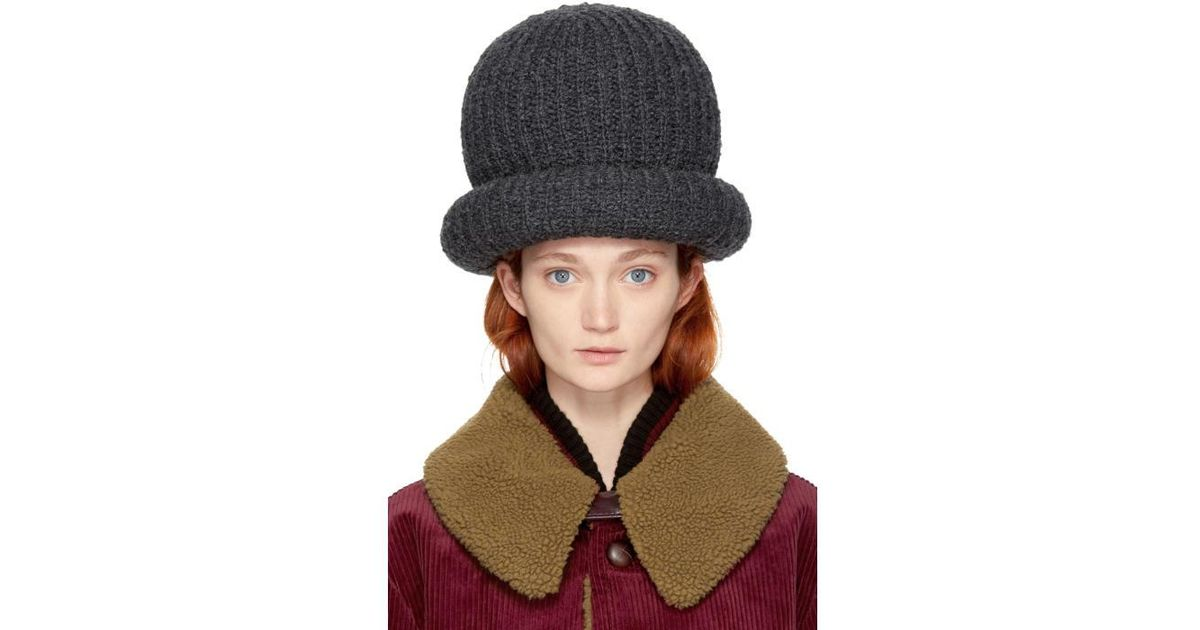 Lyst - Marc Jacobs Grey Oversized Knit Hat in Gray cd448ca8abd