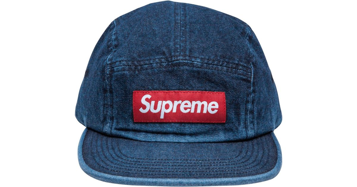 d7686e76551 Supreme Washed Chino Twill Camp Cap (ss18) Denim in Blue for Men - Lyst