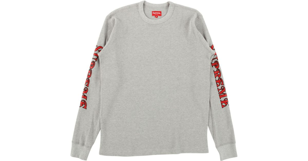 more photos b401b 79f1f ... Lyst - Supreme Sleeve Logo Waffle Thermal in Gray for Men ...