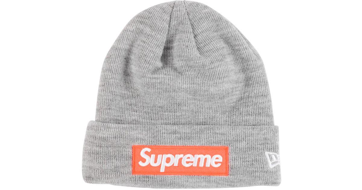f1deb0a4146 ... best price lyst supreme new era box logo beanie fw17 heather grey in  gray for men