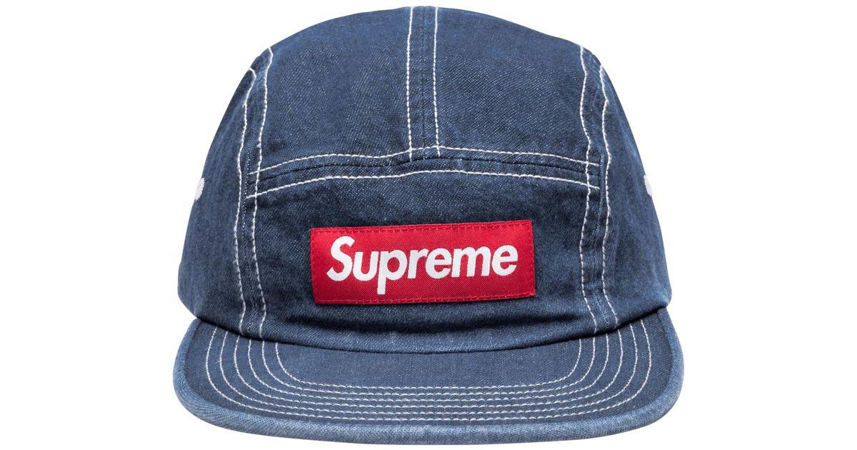 061f08b6aa58c Supreme Contrast Stitch Camp Cap in Blue for Men - Lyst