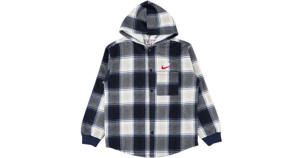 50a0bfacbf5 ... Lyst - Supreme Nike Plaid Hooded Sweatshirt in Blue for Men for whole  family ce98d 20af7 ...