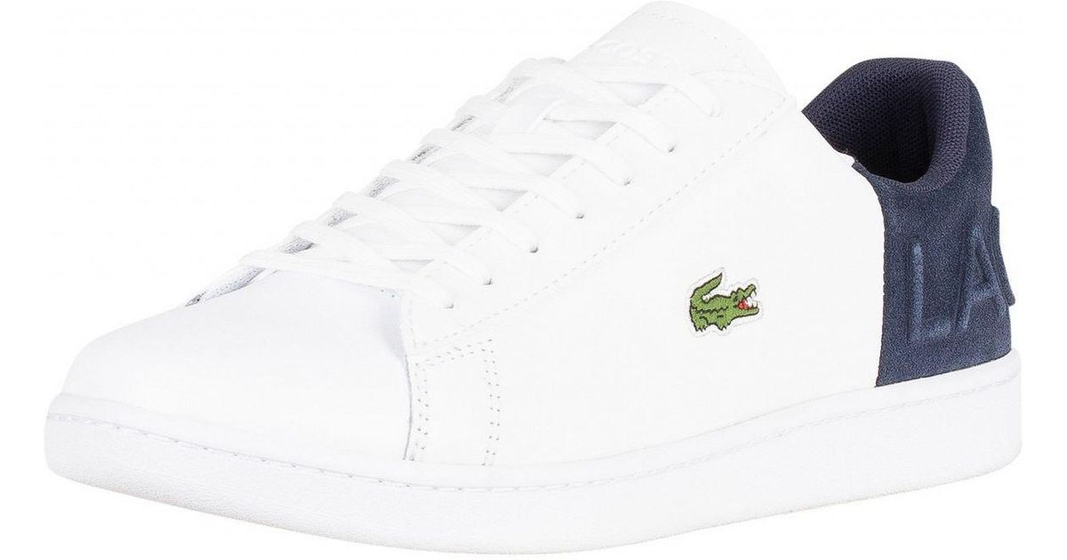 2be1615d4b84 Lacoste White navy Carnaby Evo 318 2 Qsp Spm Leather Trainers in White for  Men - Lyst