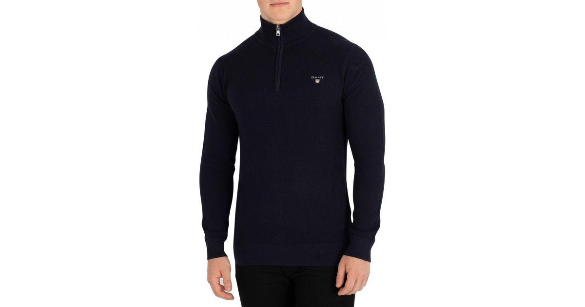 6bf41181bb8 GANT Evening Blue Cotton Pique Half Zip Sweatshirt in Blue for Men - Lyst