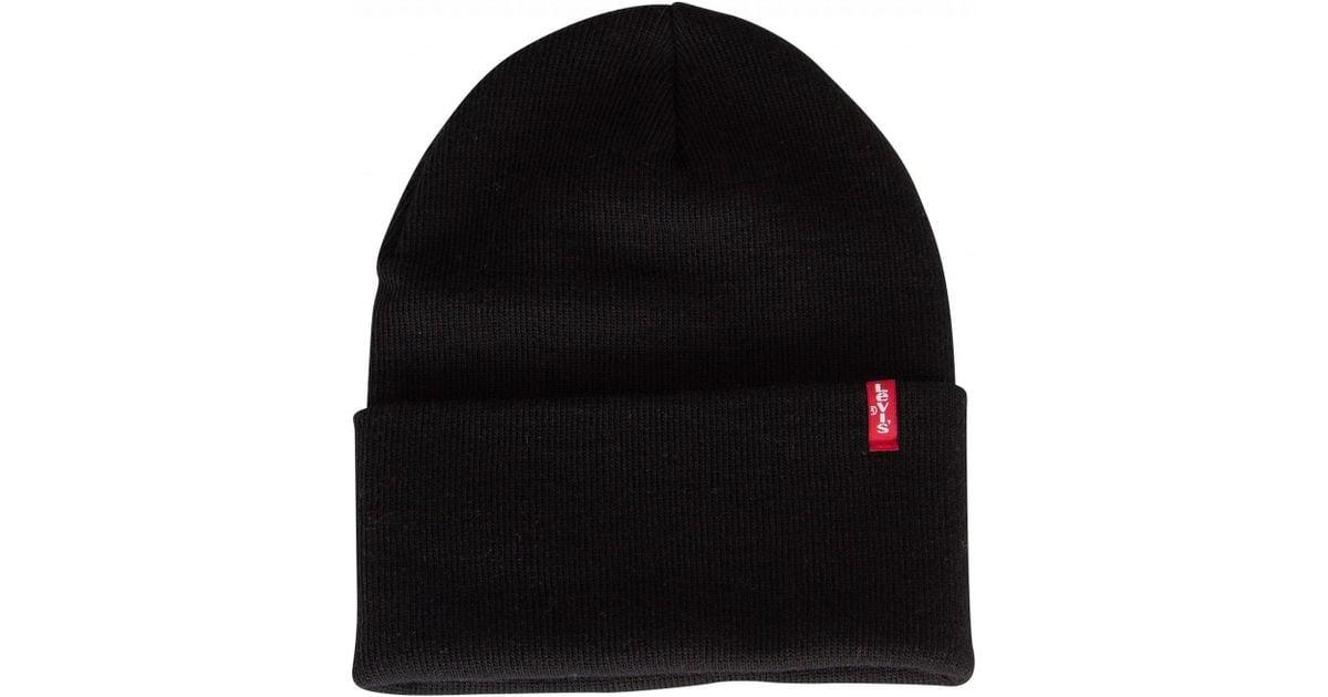 eebc9742cb89f Lyst - Levi s Regular Black Slouchy Red Tab Beanie in Black for Men