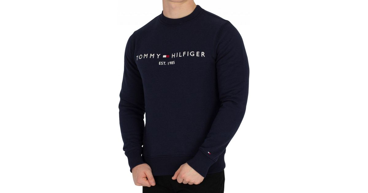 b715678f Tommy Hilfiger Est. 1985 Logo Sweatshirt, Sky Captain Navy Blue Sweat in  Blue for Men - Lyst