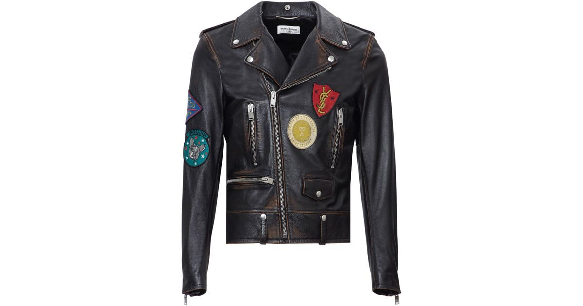 Lyst saint laurent vintage badge appliqué leather biker jacket in