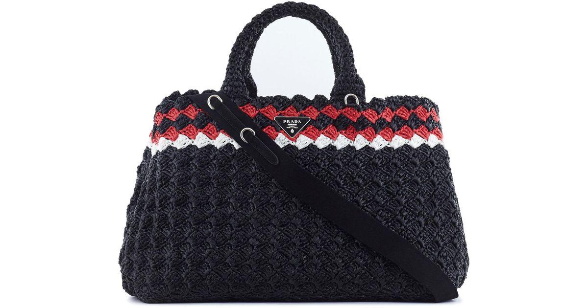 a6ae10a35b9b96 Prada Crochet Raffia Tote in Black - Lyst