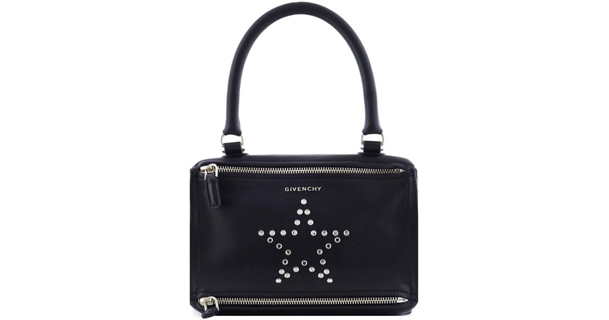 18f57227d8f7 Lyst - Givenchy Pandora Small Star Studded Leather Bag in Black