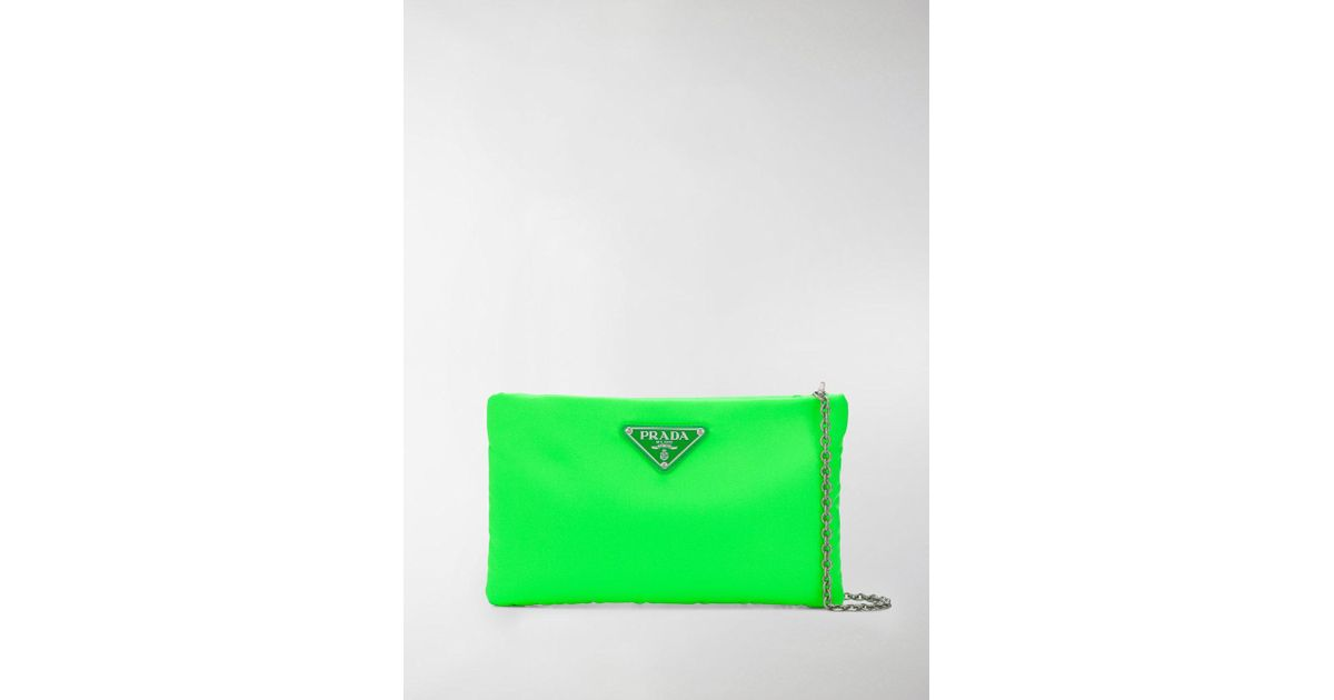 8a20598b4ecf Prada Padded Nylon Clutch Bag in Green - Lyst