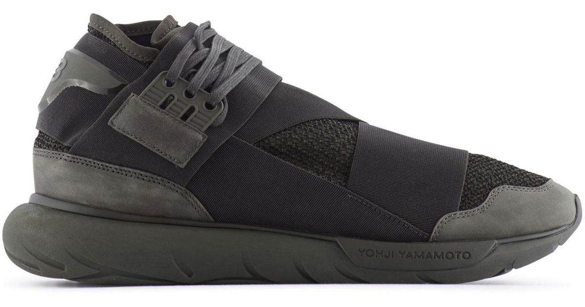 4c09bb0d45968 Lyst - Y-3 Qasa High Mesh And Suede Sneakers in Green for Men