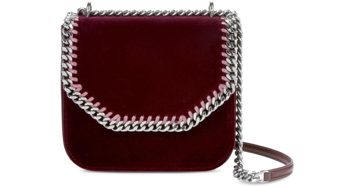 40adbb8ec388 Lyst - Stella McCartney Velvet Red Falabella Box Medium Shoulder Bag in Red