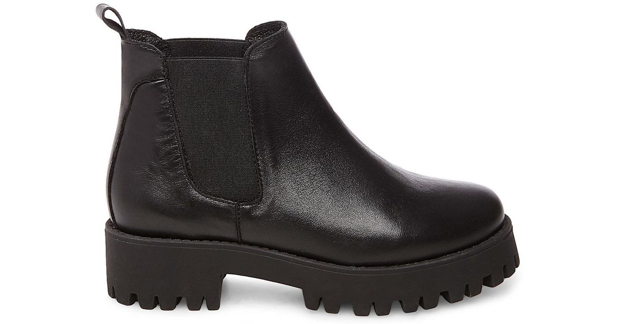 Bleeker Leather Track Sole Chelsea Ankle Boots - Black Steve Madden