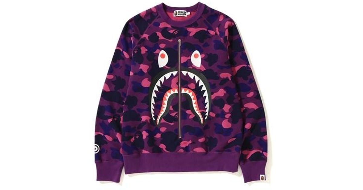 1a01127c A Bathing Ape Color Camo Metal Zip Shark Crewneck Purple in Purple ...