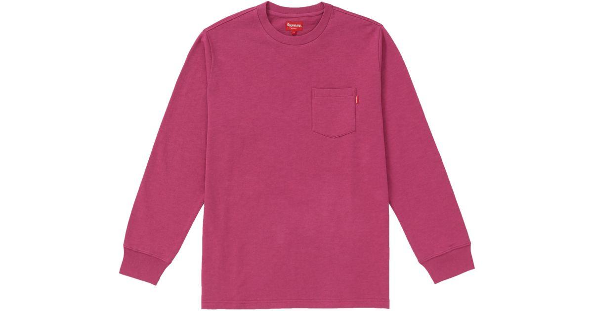53464c5f Supreme L/s Pocket Tee (fw18) Dark Magenta in Pink for Men - Lyst