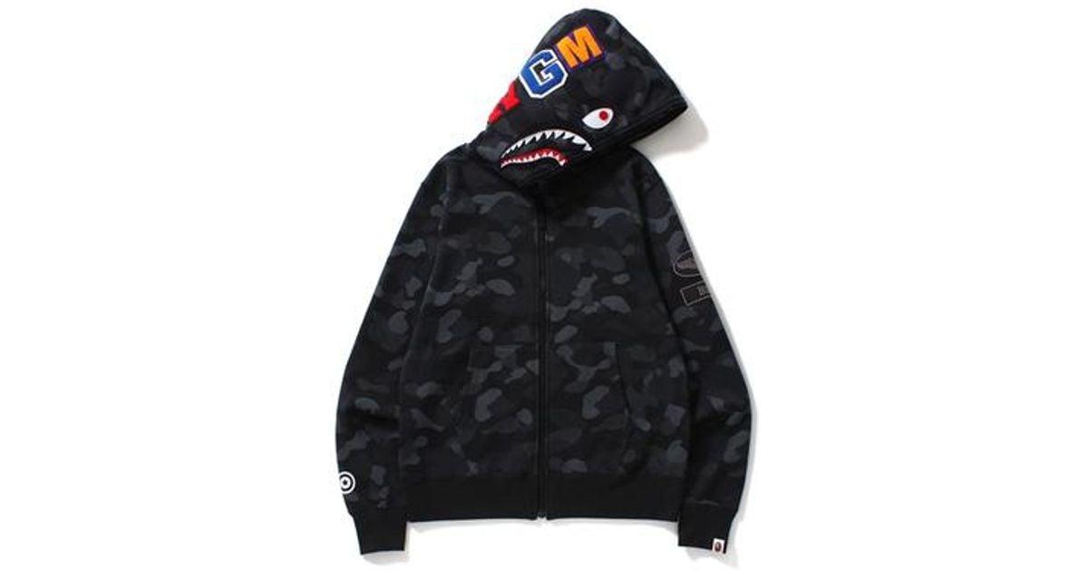 cecb31e1 A Bathing Ape Dot Camo Shark Wide Full Zip Hoodie Black in Black for Men -  Lyst