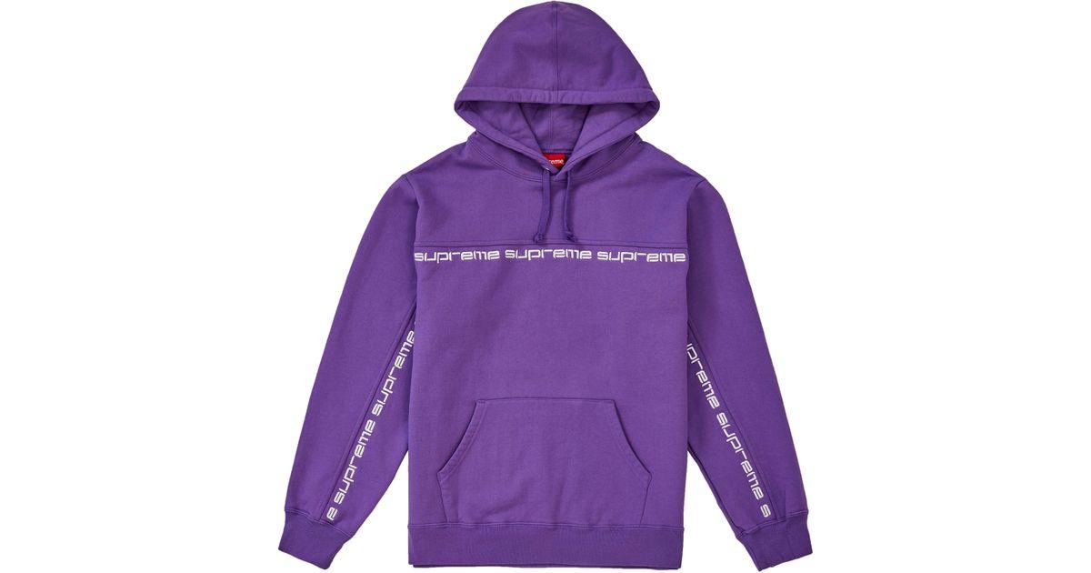 b8f7d51c7509 Lyst - Supreme Text Stripe Hooded Sweatshirt Violet in Purple for Men