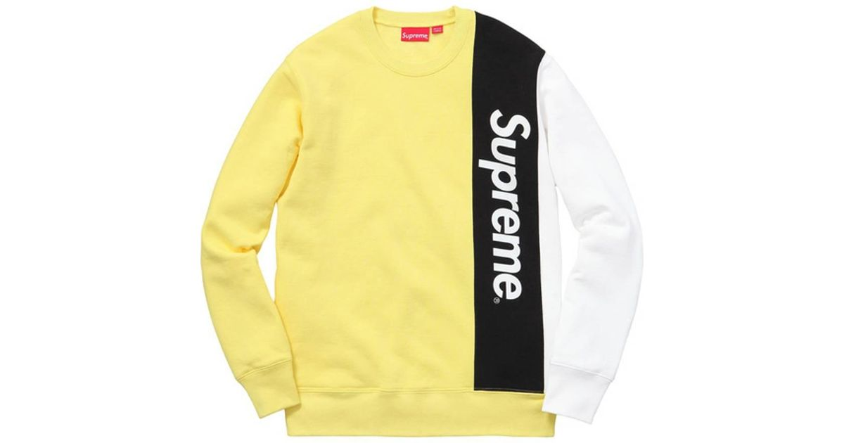 buy online 7e624 3d38a Lyst - Supreme Panelled Crewneck Pale Yellow in Yellow for Men