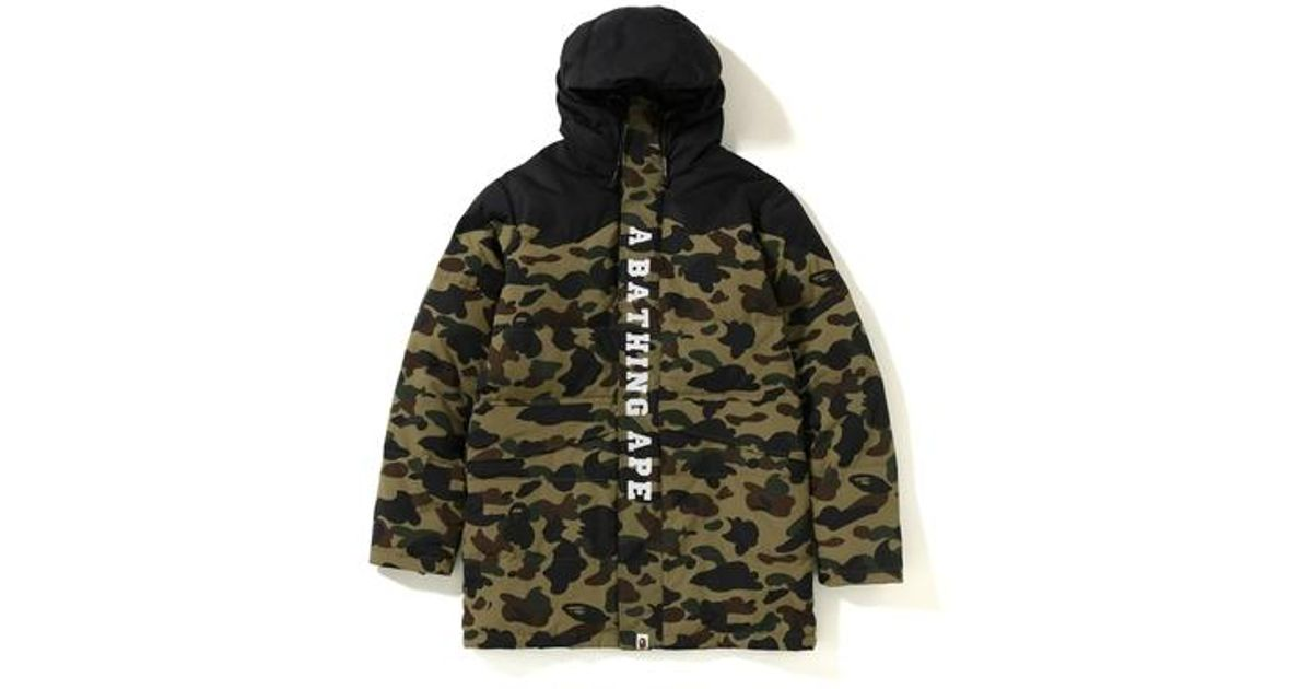 ff4d53807 A Bathing Ape - 1st Camo Long Down Snowboard Jacket Green for Men - Lyst