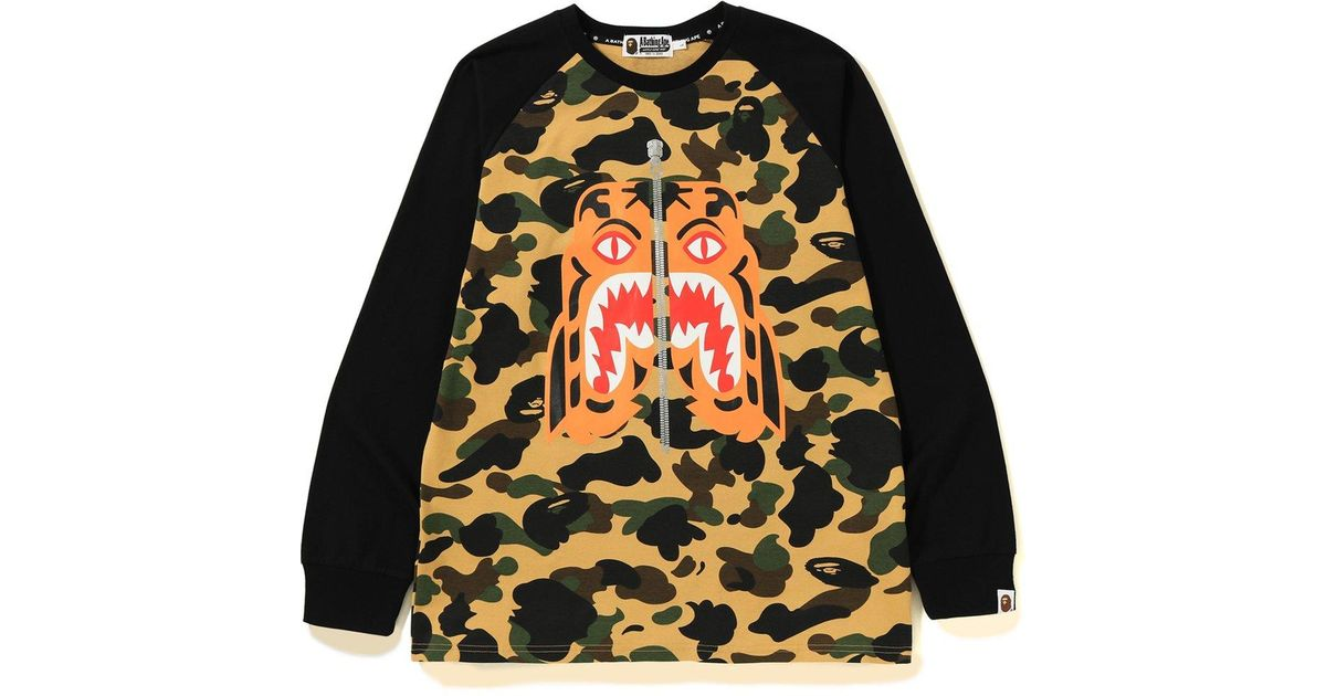 bdb05c48f Lyst - A Bathing Ape 1st Camo Tiger Ls Tee Yellow in Yellow for Men